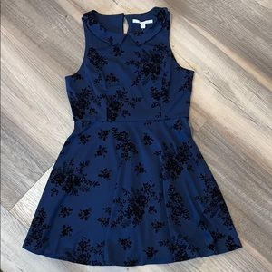 Lauren Conrad Navy Blue Velvet Floral Flock Dress